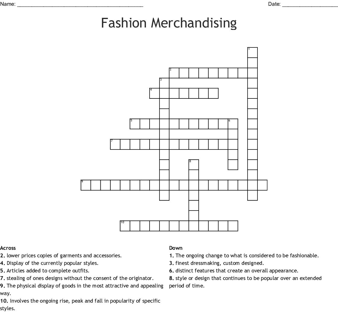 Fashion Merchandising Crossword Wordmint