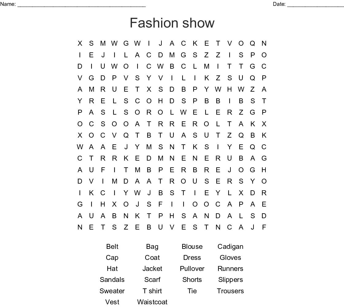 Apparel Crosswords Word Searches Bingo Cards Wordmint