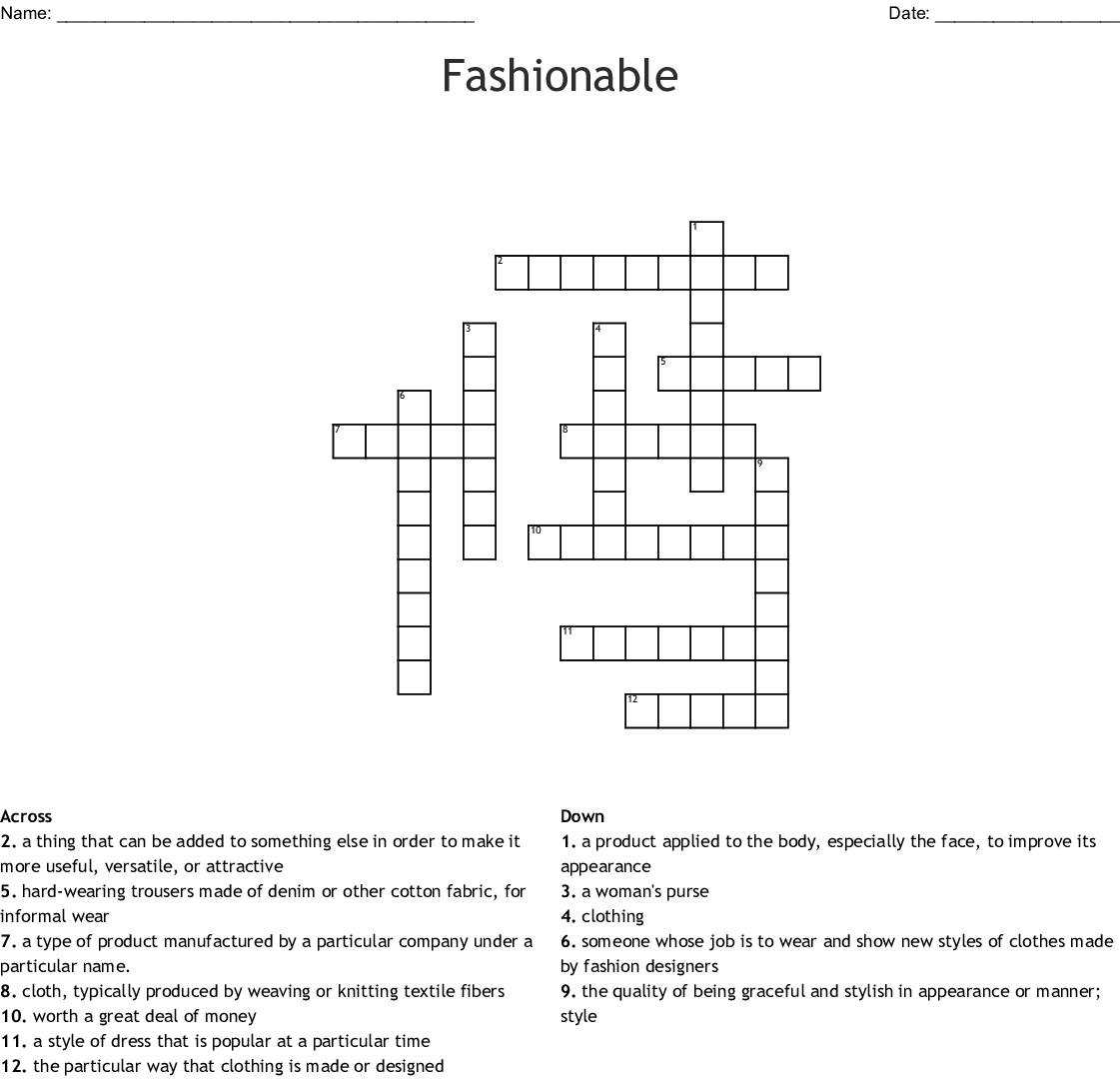 Fashionable Crossword Wordmint