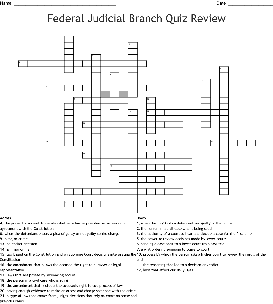 Crossword Puzzle Icivics Judicial Branch In A Flash ...