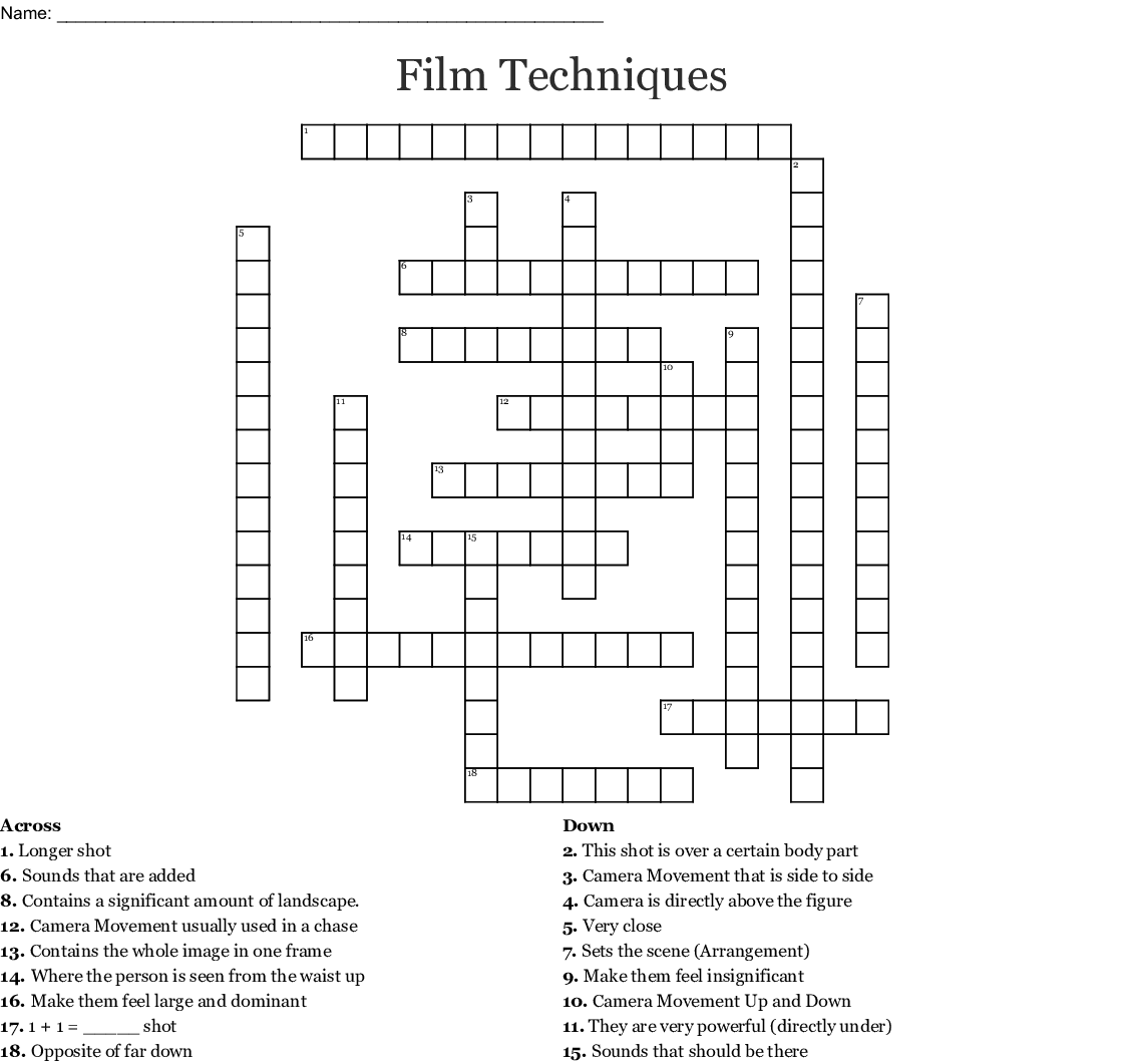 Film Shots Crossword Wordmint