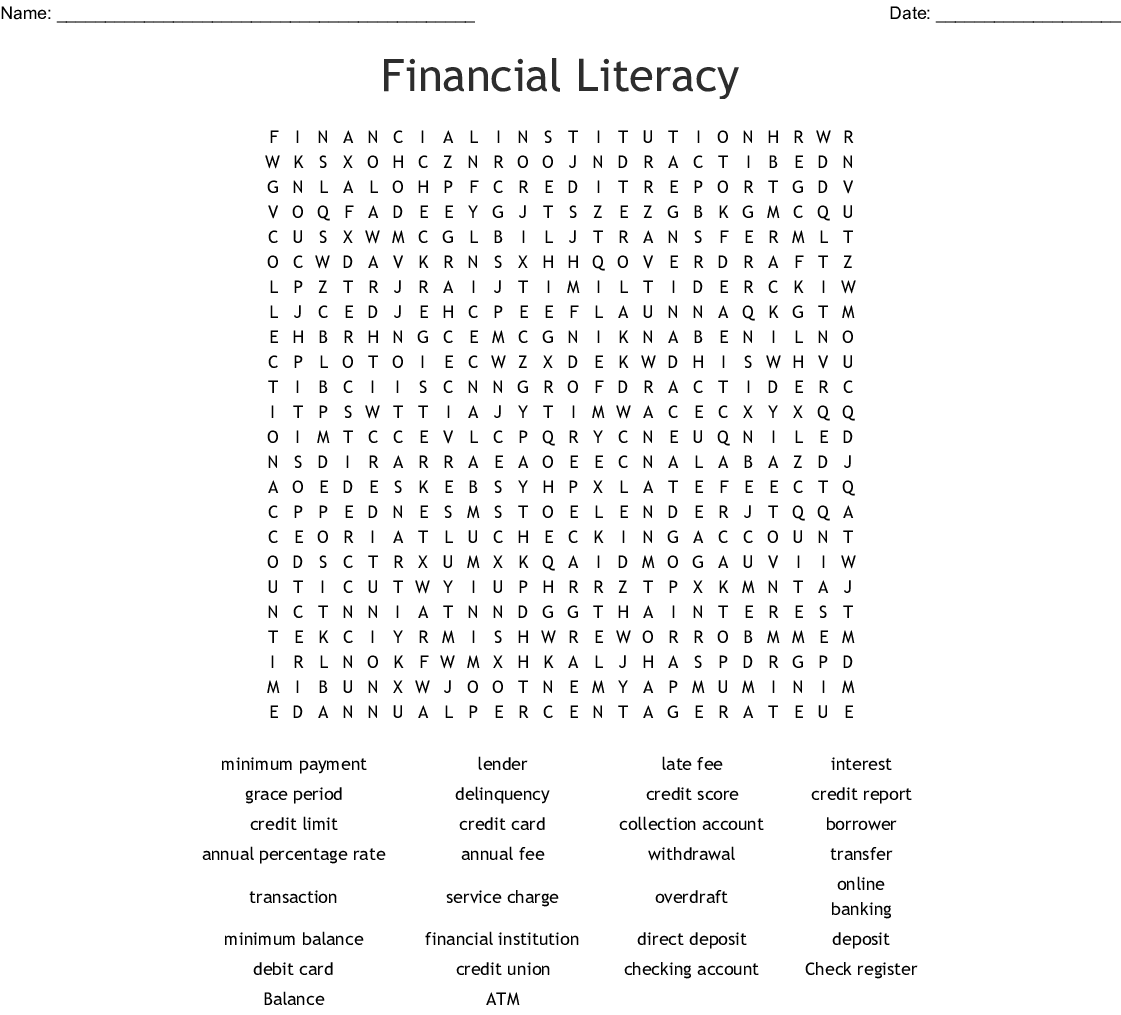 Banking Terms Crossword - WordMint