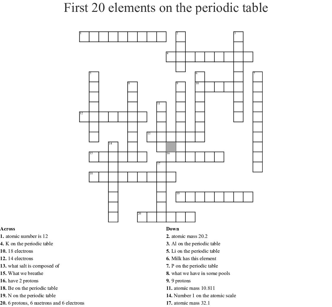 First 20 Elements On The Periodic Table Crossword Wordmint