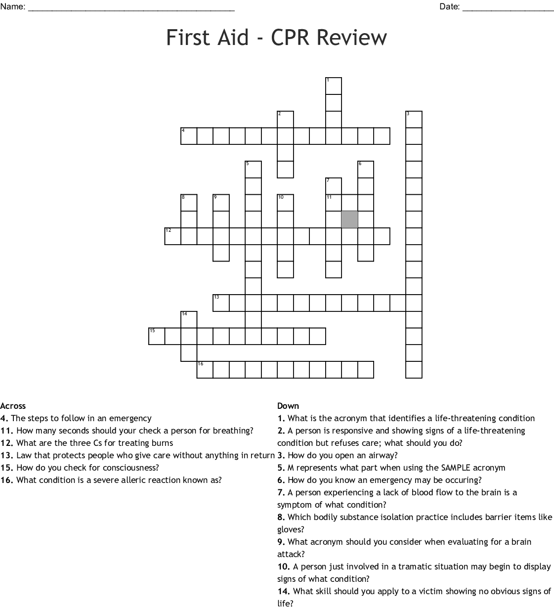 First Aid Cpr Review Crossword Wordmint