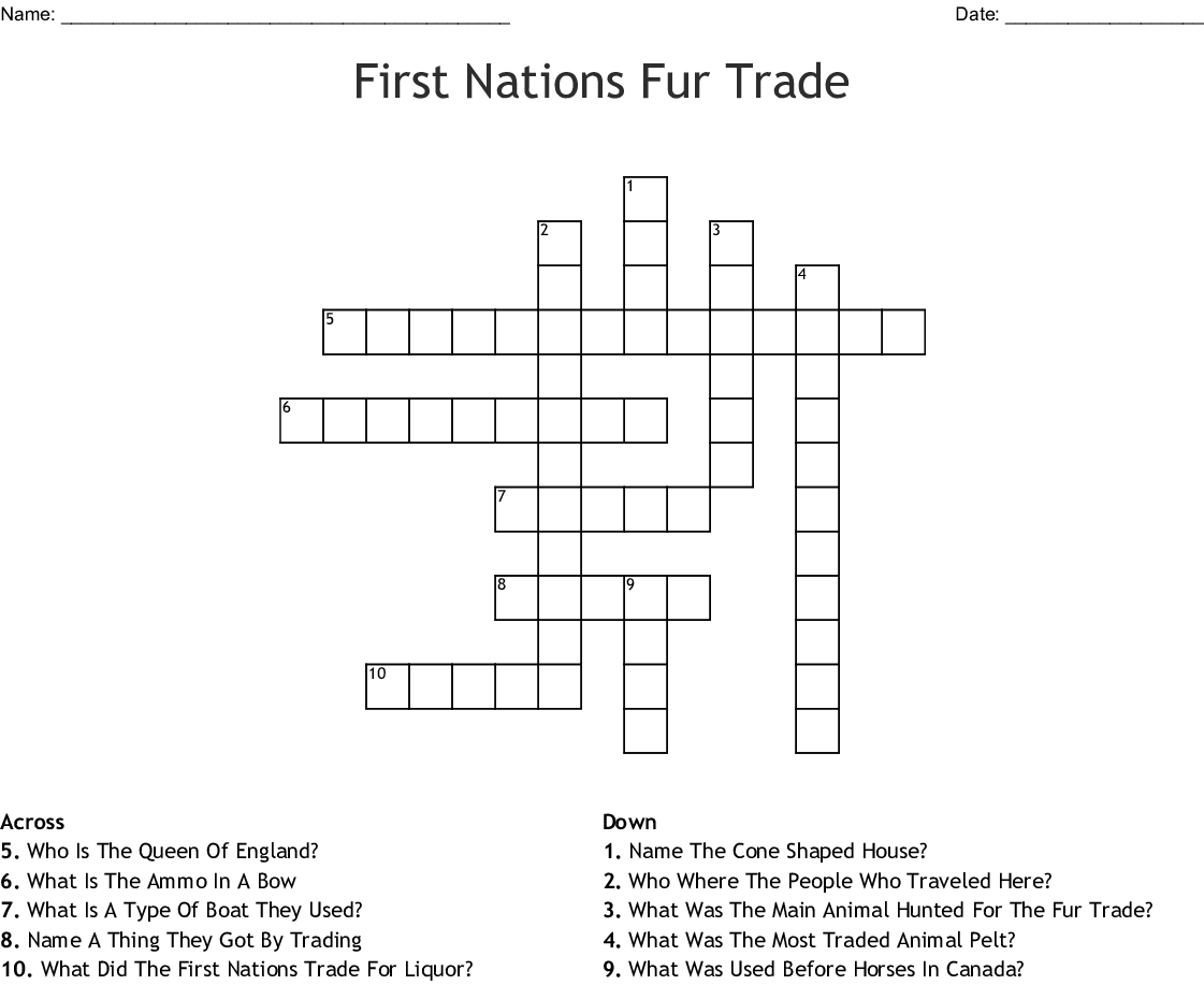 First Nations Fur Trade Crossword - WordMint
