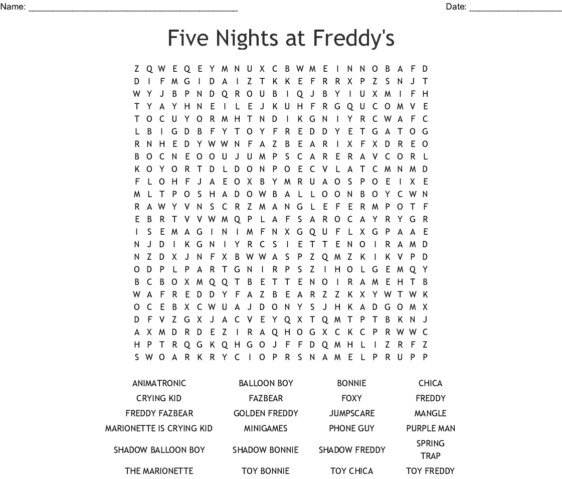 Five Nights at Freddy's Word Search - WordMint