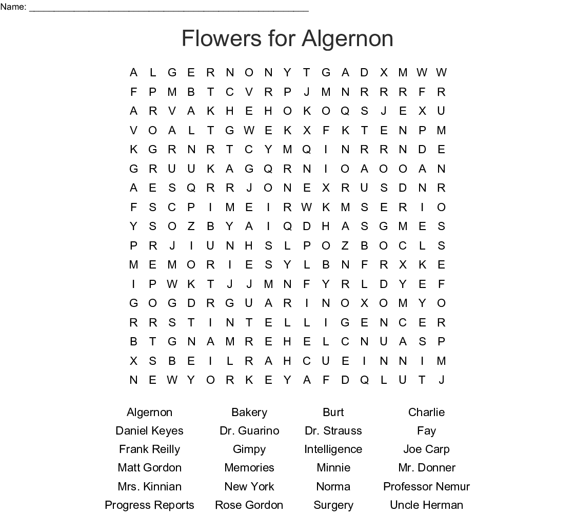 Flowers for Algernon Word Search , WordMint