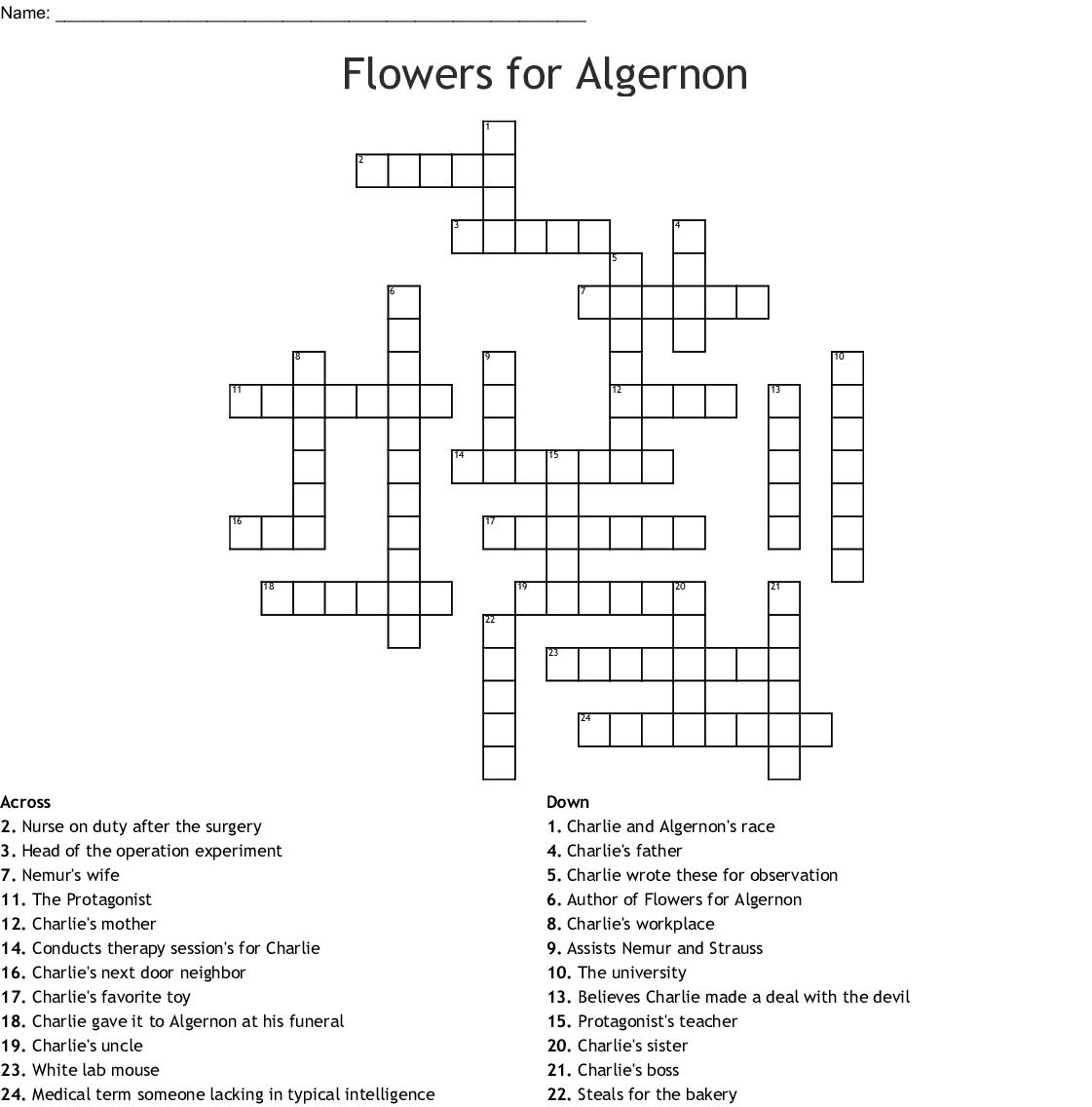 Flowers for Algernon Crossword , WordMint