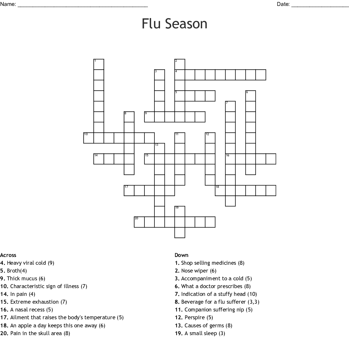 Similar To Get The Clue About The Flu Crossword Wordmint