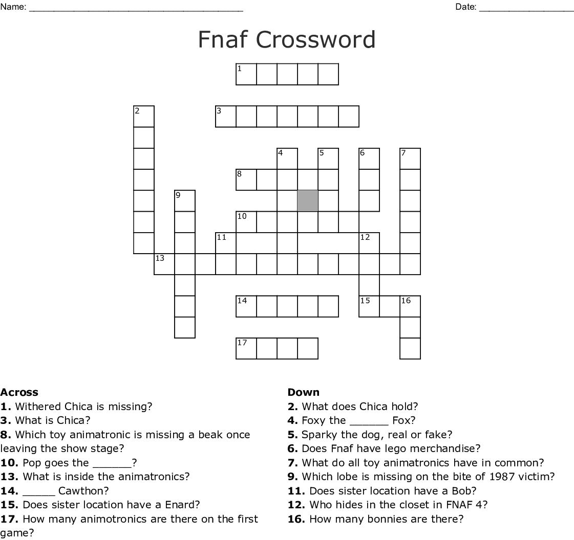 Fnaf Crossword - WordMint