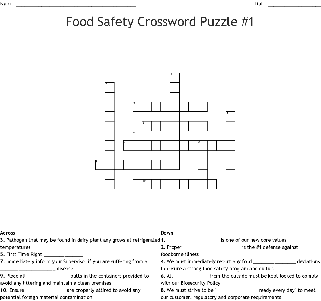 Food Safety Crossword Puzzle 1 Crossword Wordmint