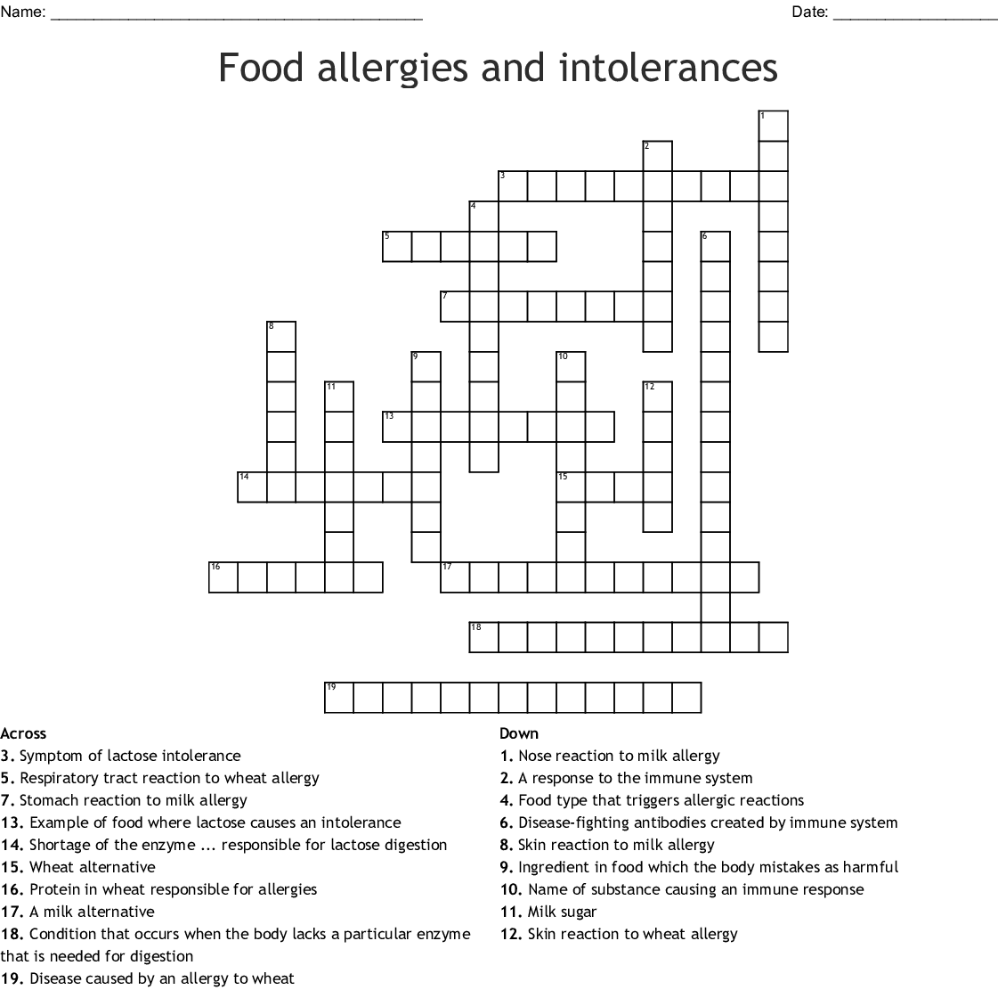 Allergies And Asthma Crossword Wordmint