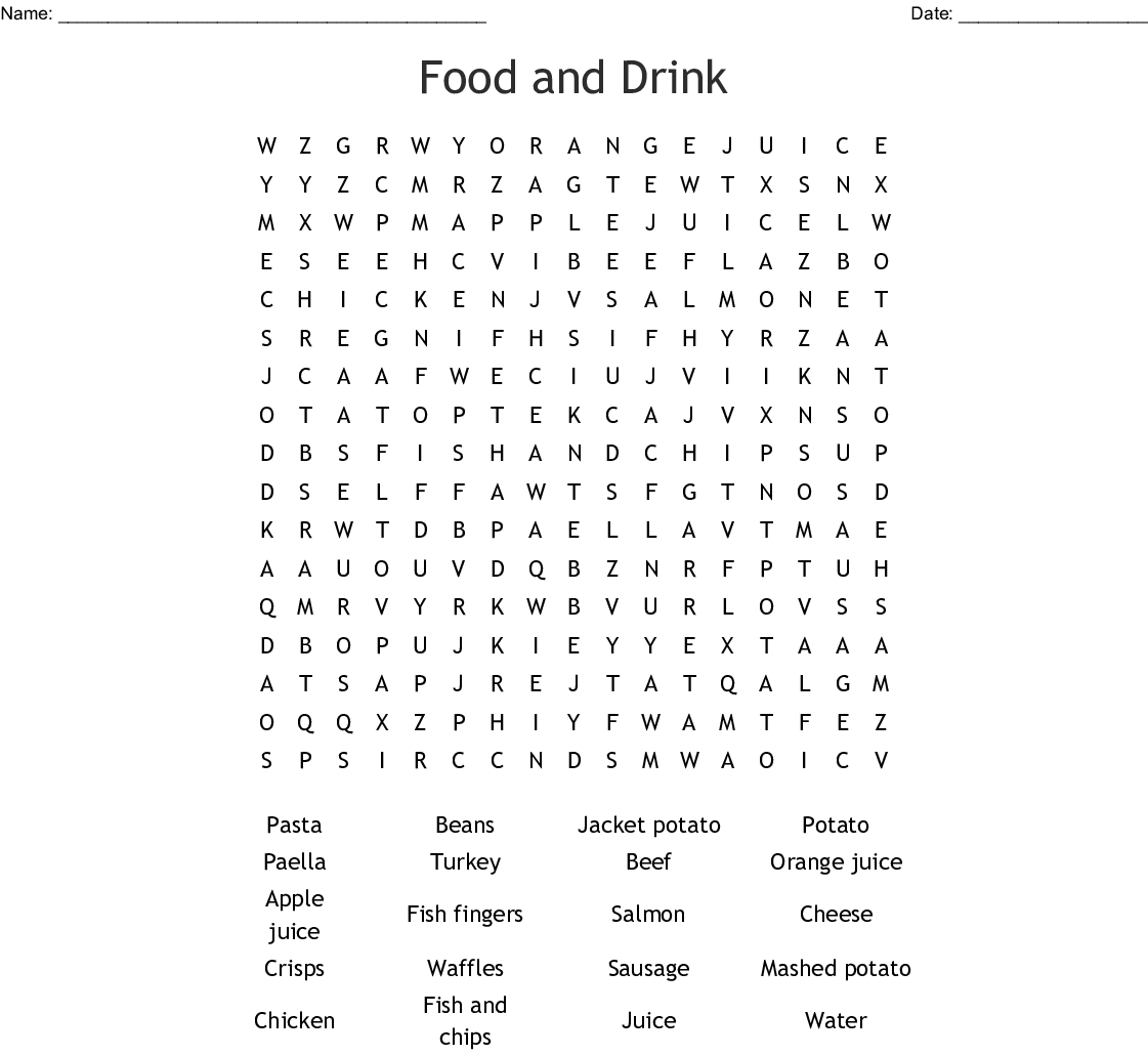 word food victoria queen puzzles drink printable crossword words searches wordmint worksheets description vocabulary created
