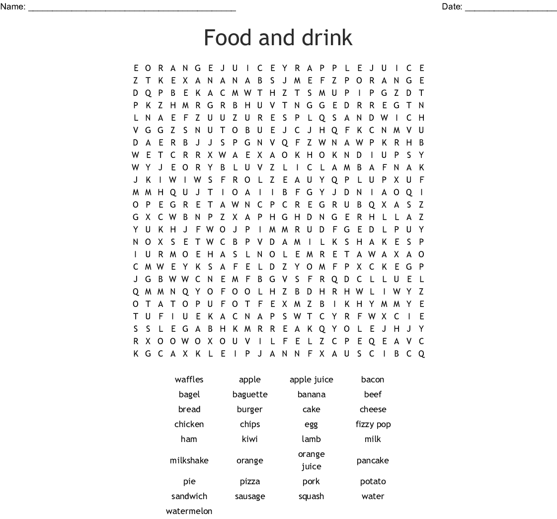 Food and Drink Word Search - WordMint