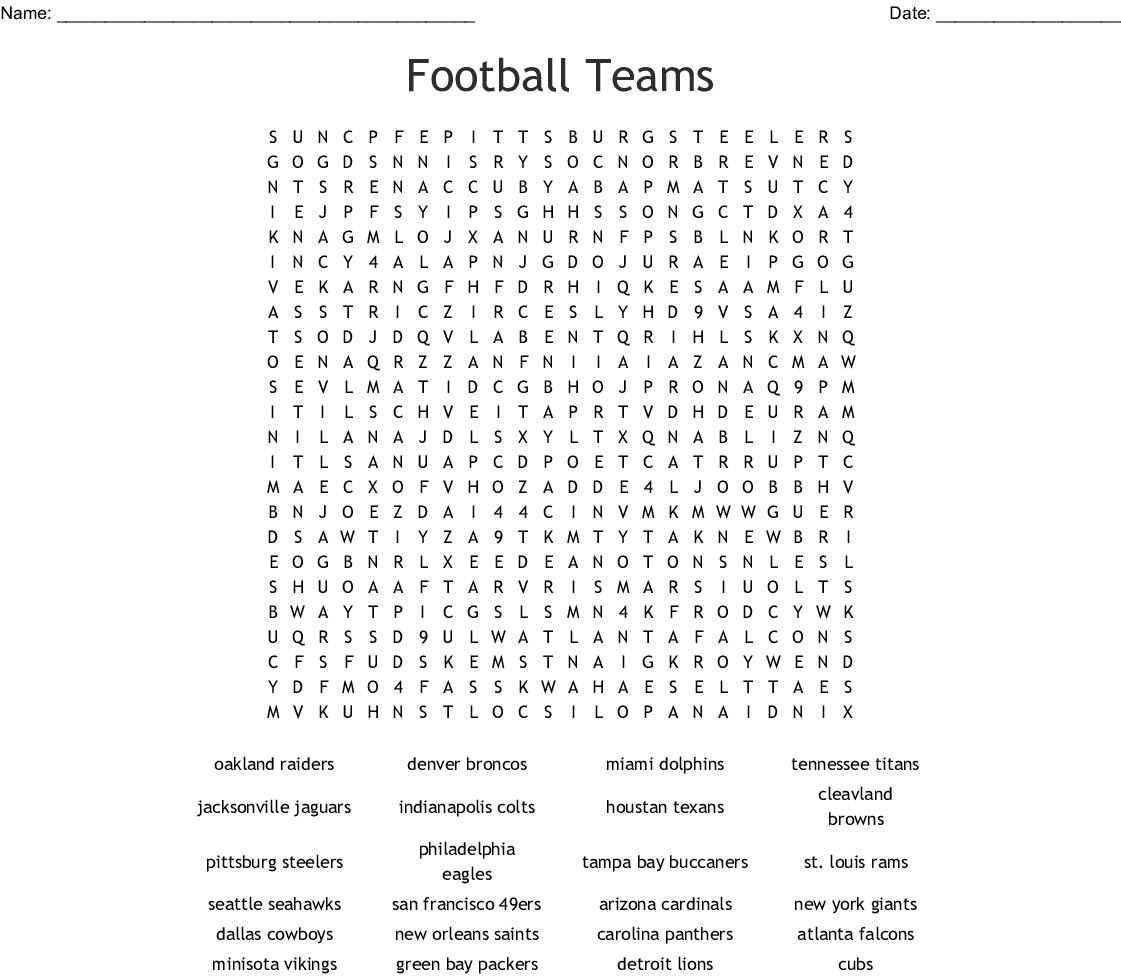 Football Teams Crossword - WordMint