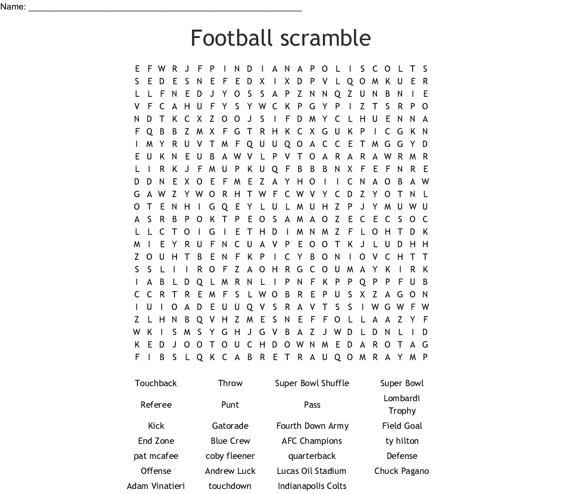 Football Word Search - WordMint