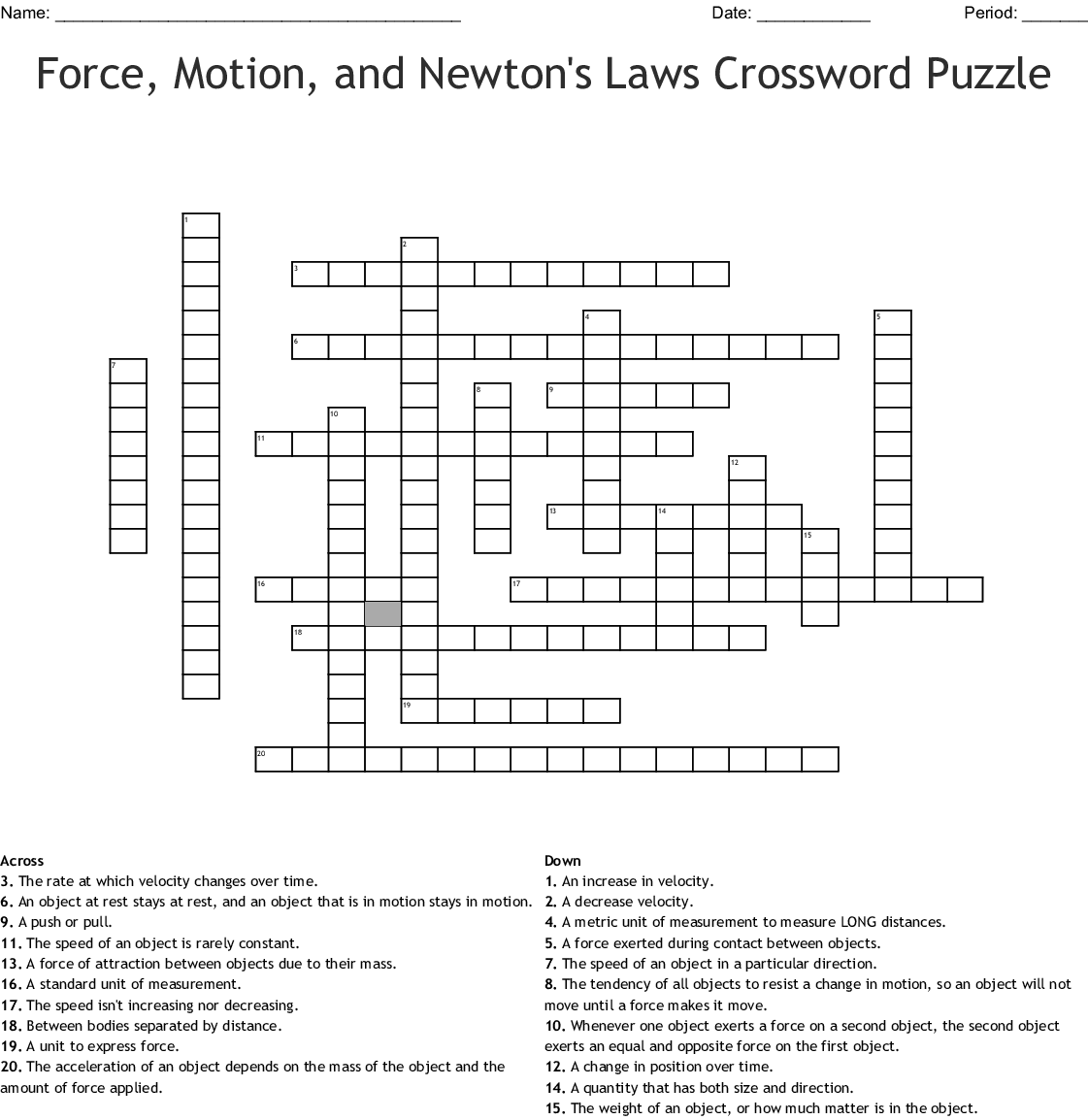 Forces, Vectors, Circular Motion, and Energy Crossword