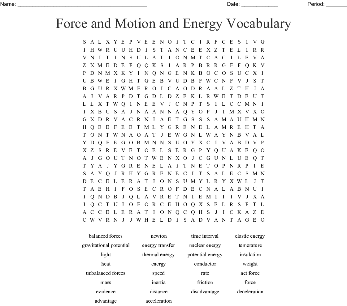 Energy, Motion and Forces Word Search - WordMint