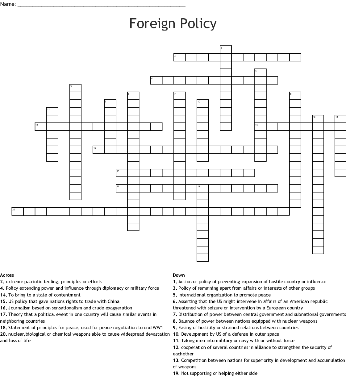 Foreign Policy Crossword - WordMint
