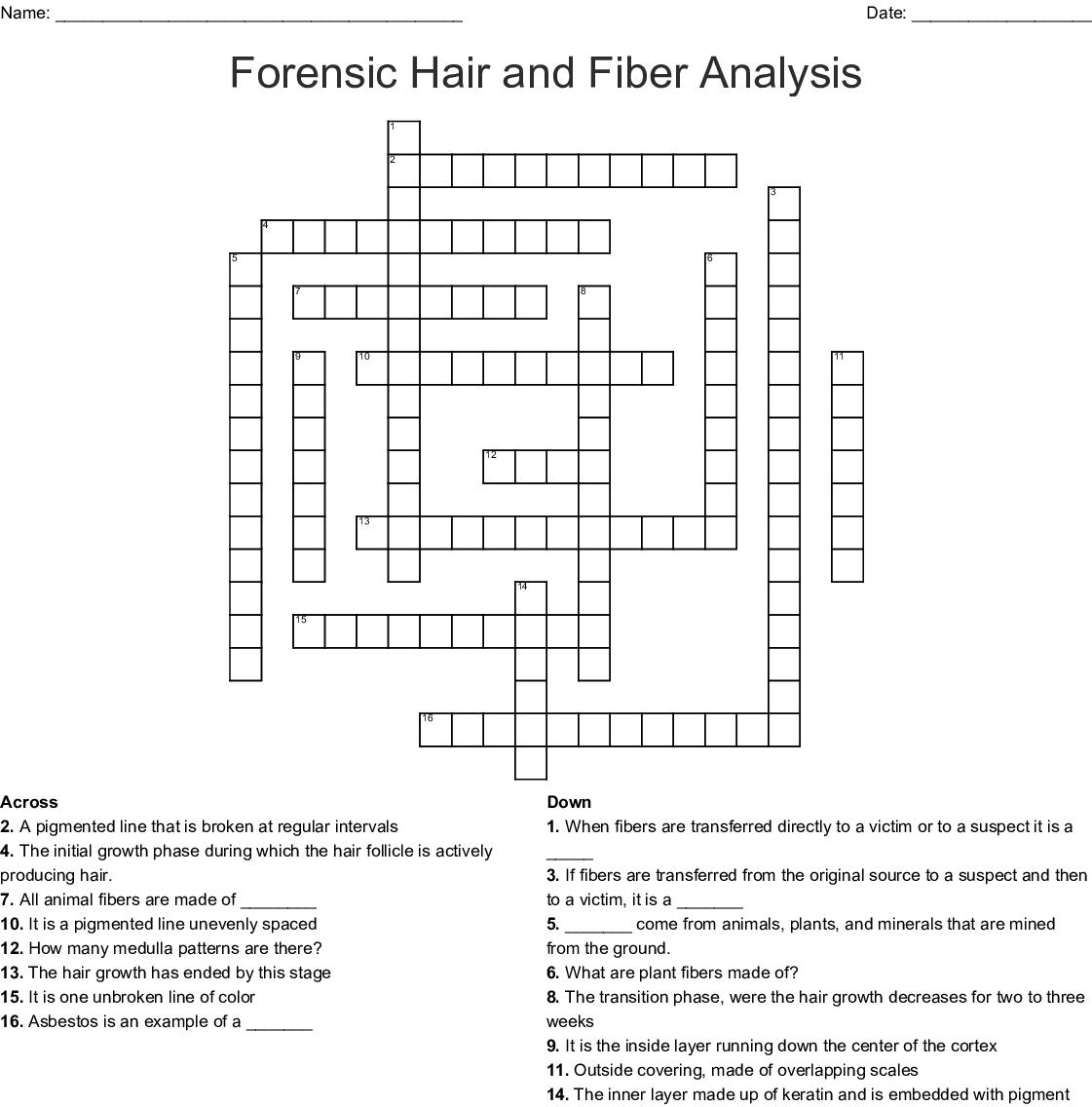 Forensic Hair And Fiber Analysis Crossword Wordmint