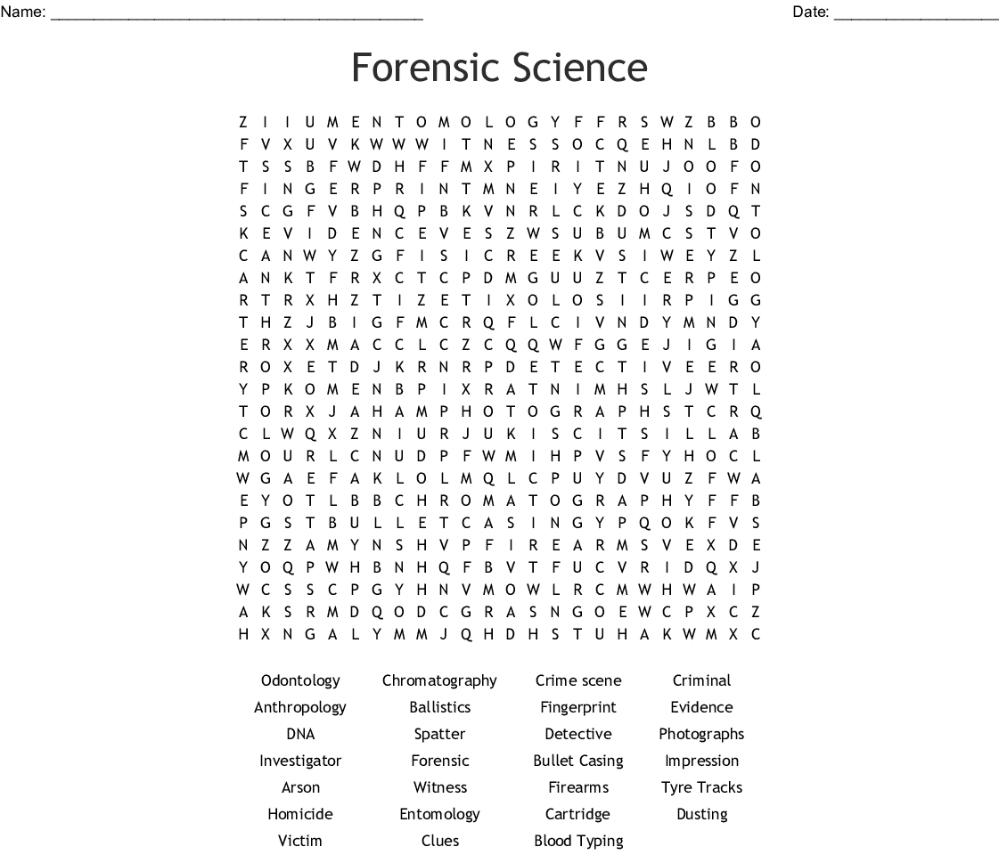 Forensic Science Word Search Wordmint