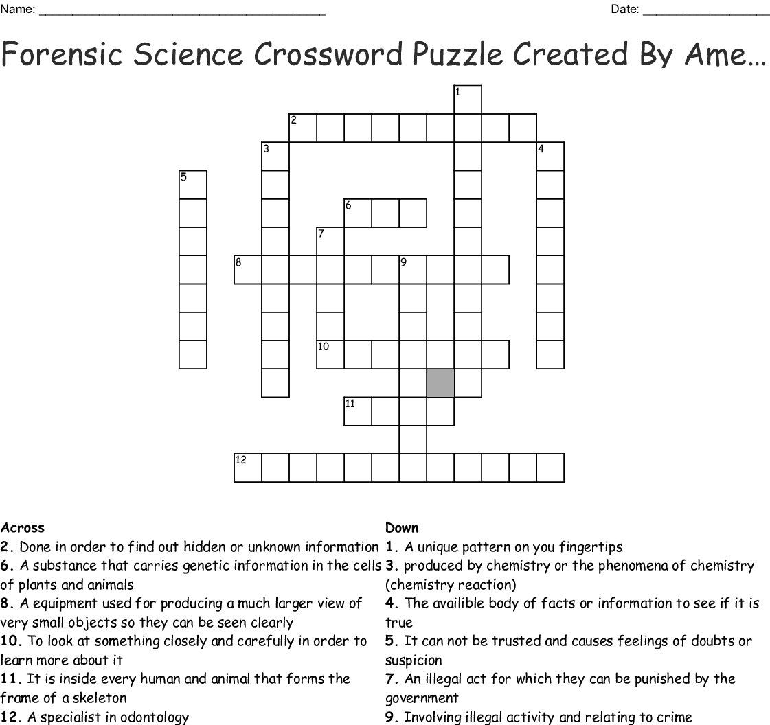 Forensic Science Chapter 1 Review Crossword Puzzle Answers ...