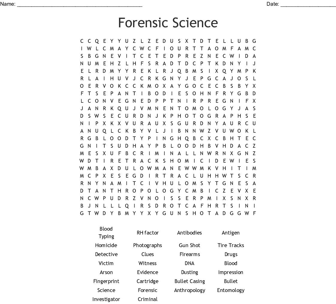 forensic science word search wordmint. Black Bedroom Furniture Sets. Home Design Ideas