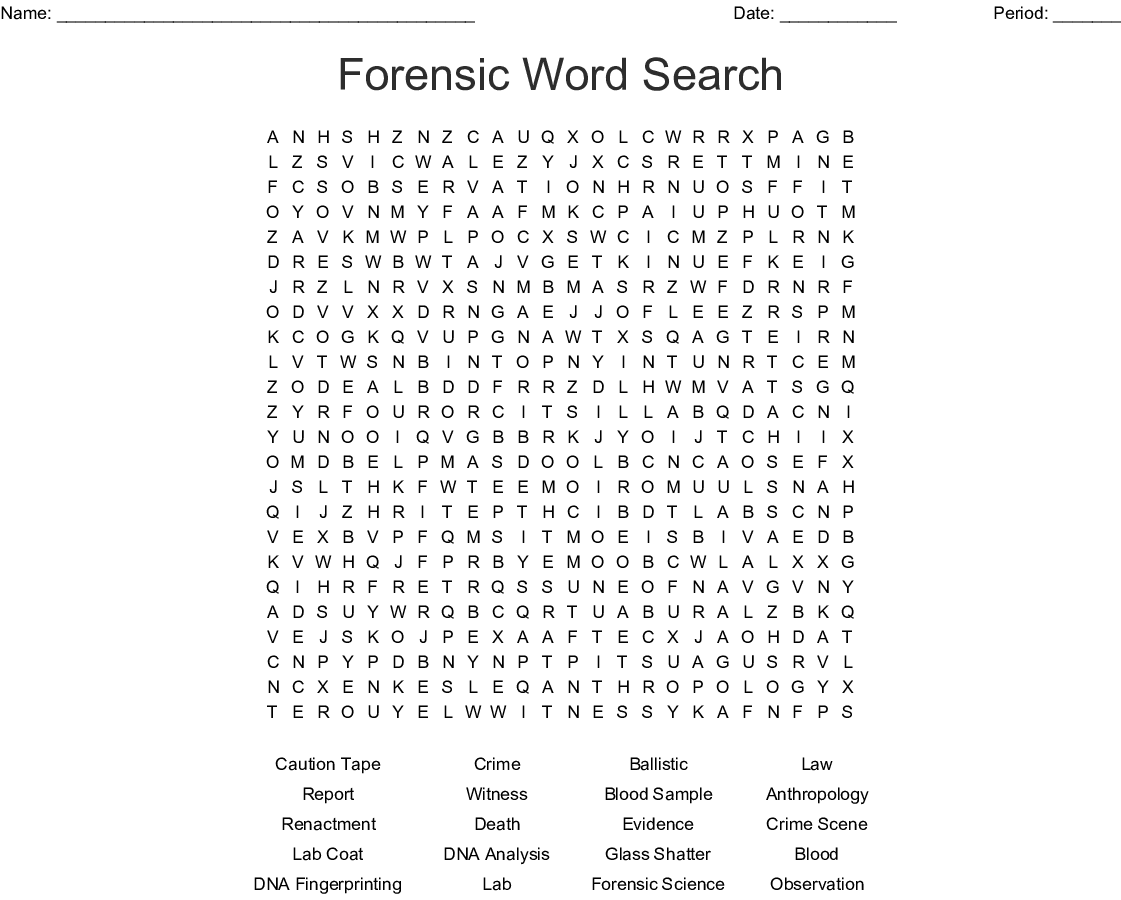 Forensic Word Search Wordmint