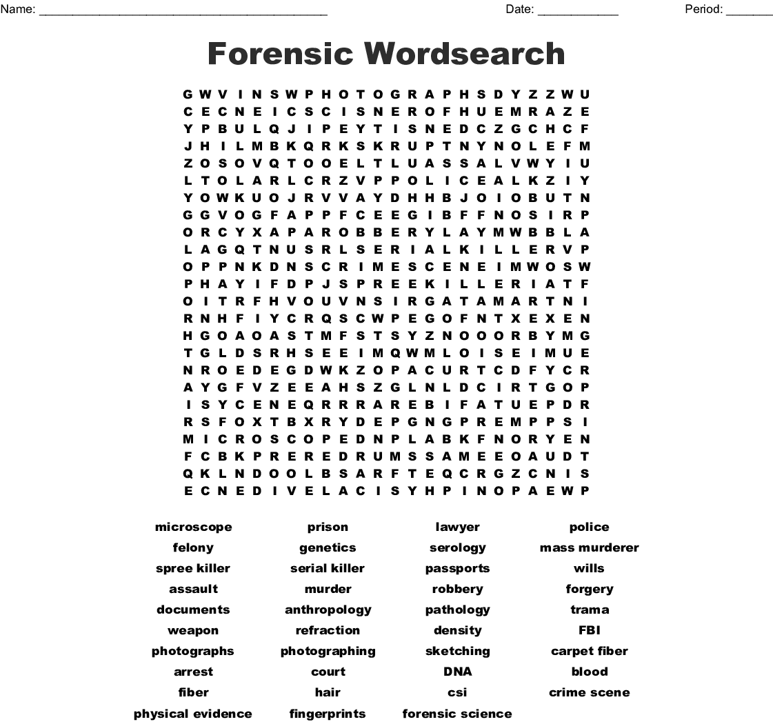 graphic relating to Science Word Search Printable identified as Regulation Enforcement Crosswords, Phrase Queries, Bingo Playing cards