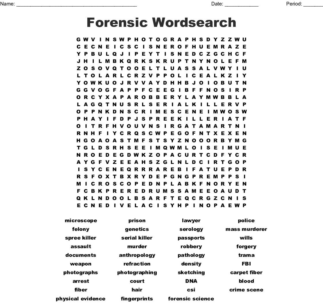 photo regarding Science Word Search Printable called Legislation Enforcement Crosswords, Term Queries, Bingo Playing cards