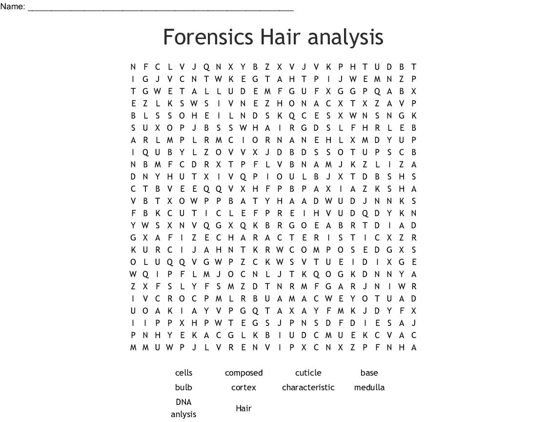 Forensics Hair Analysis Word Search Wordmint
