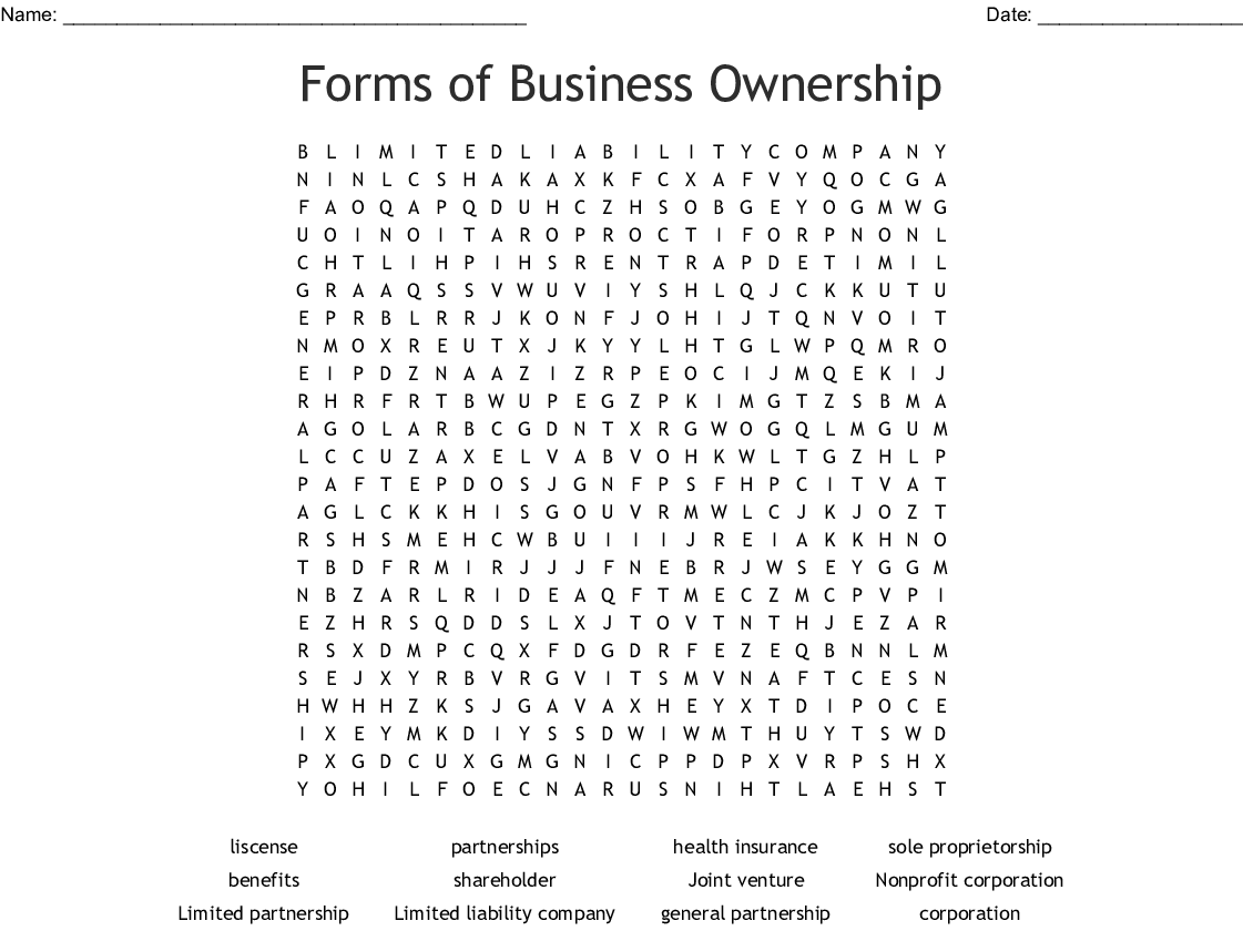 Forms Of Business Ownership Word Search Wordmint