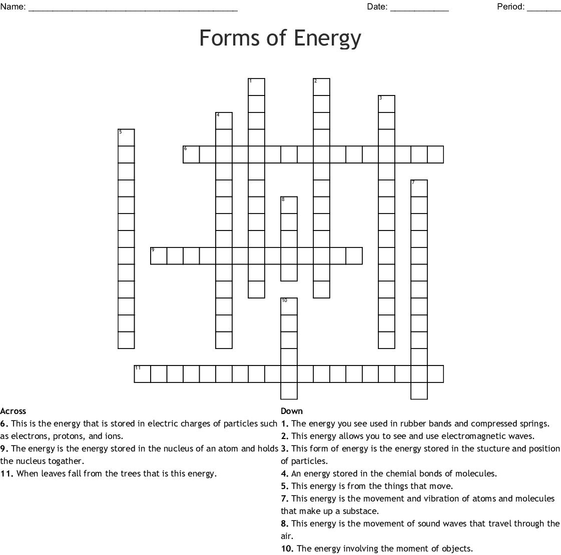 Forms of Energy Crossword - WordMint