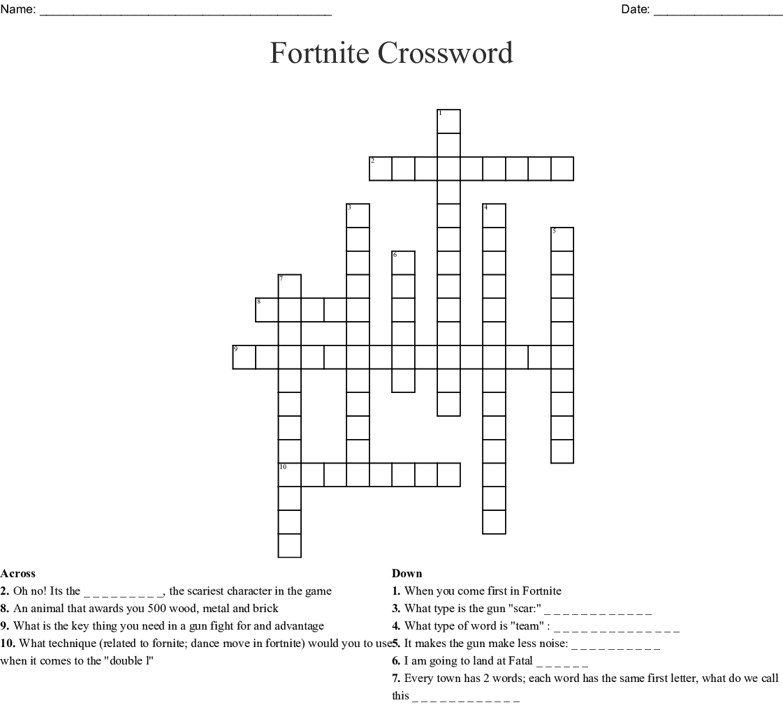 Fortnite Crossword Puzzle - WordMint