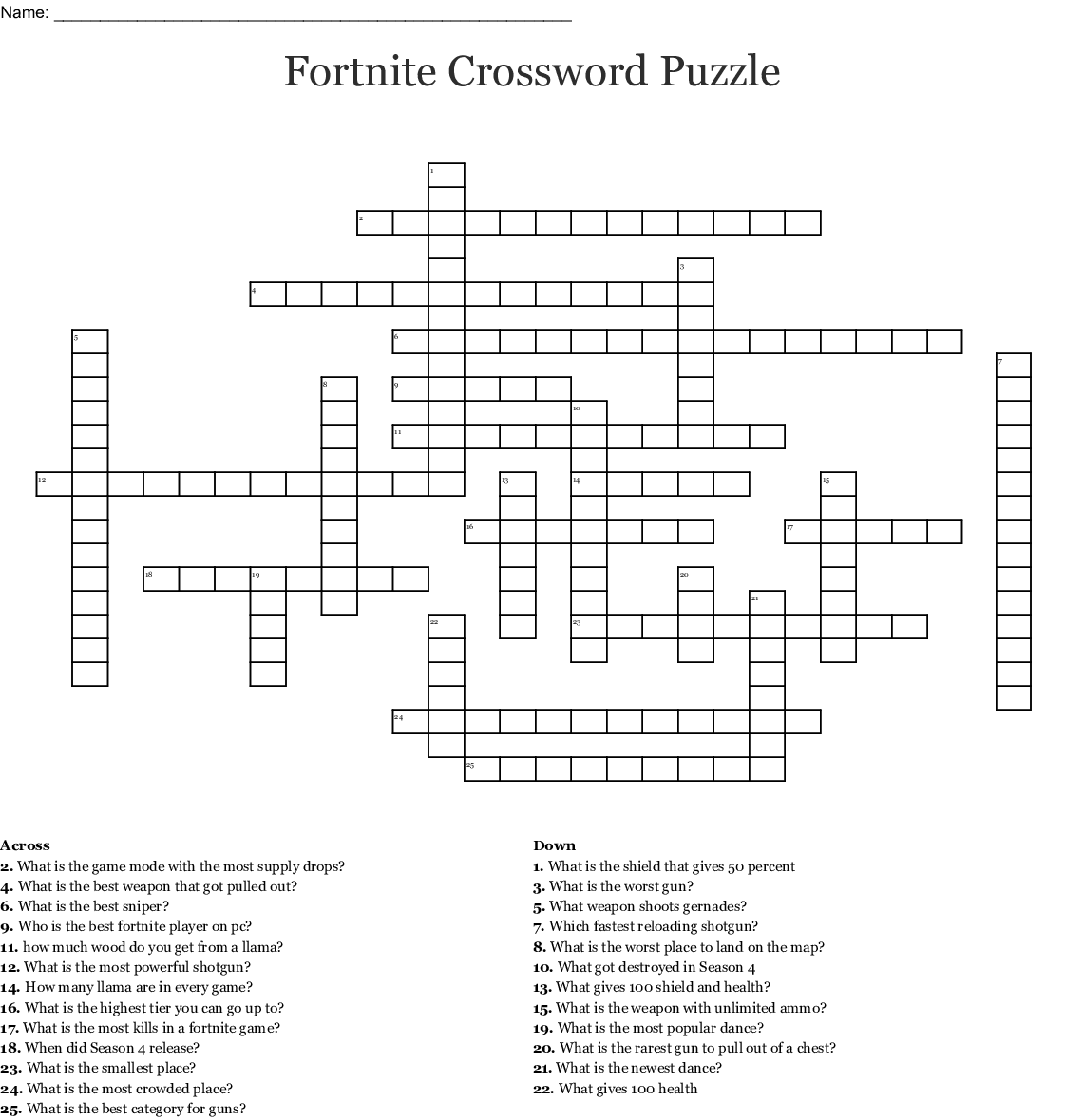 image relating to Printable Fortnite Map named Fortnite Crossword Puzzle - WordMint