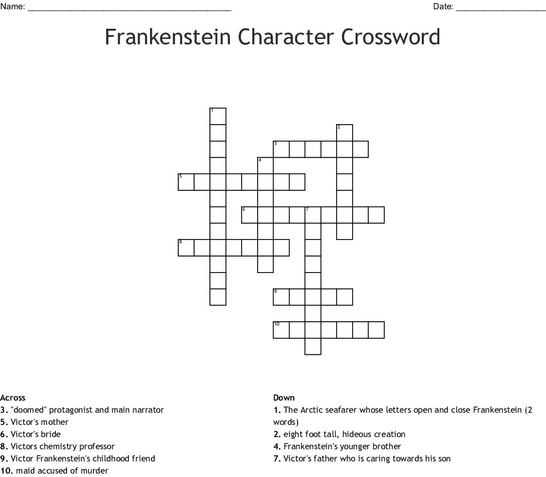 Frankenstein Character Crossword - WordMint