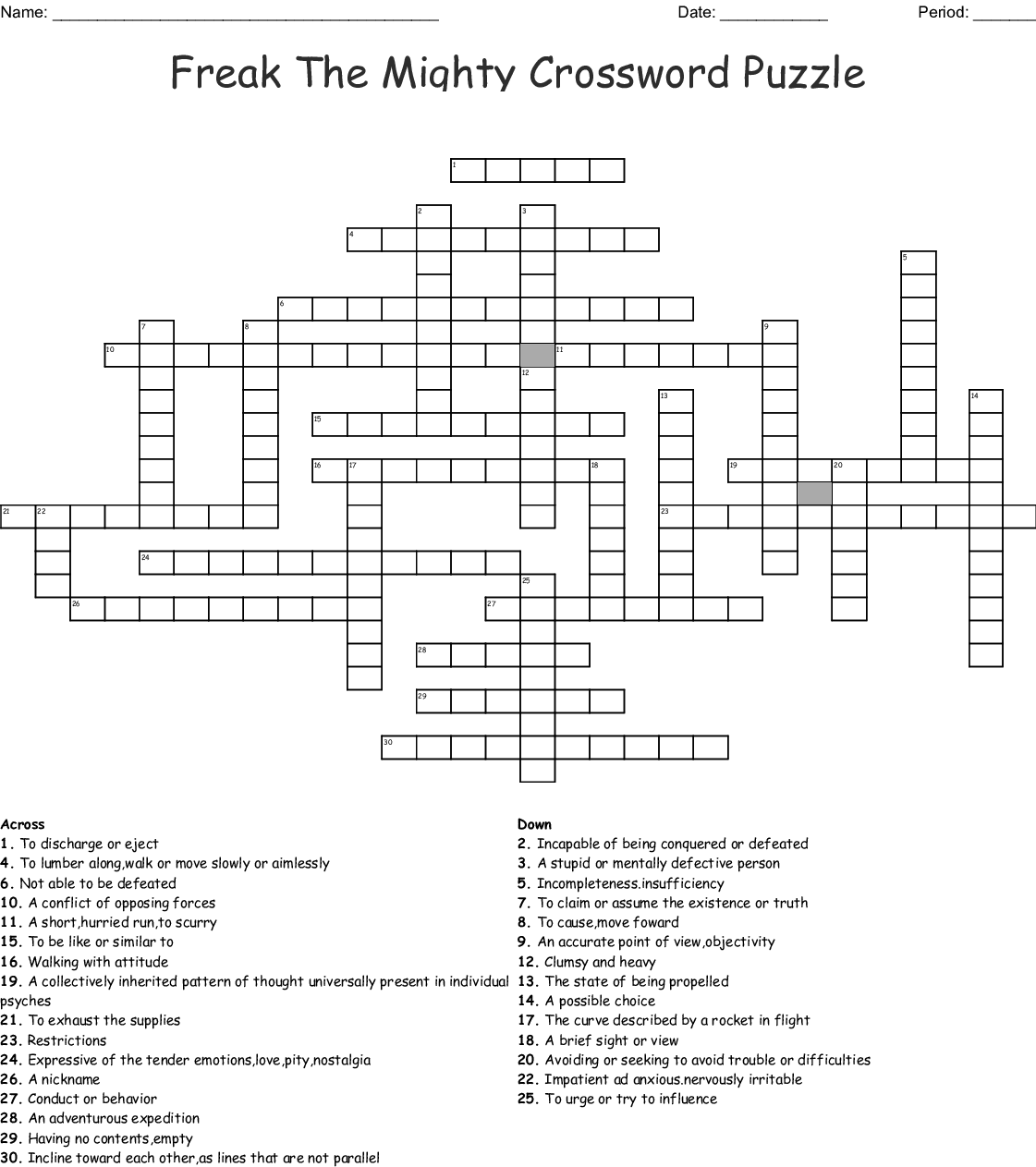 Freak The Mighty Crossword Puzzle Crossword Wordmint