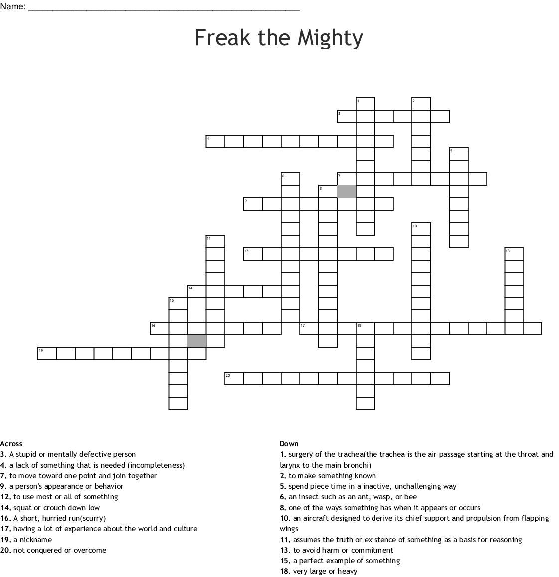 Freak The Mighty Chapters 1 8 Crossword Wordmint