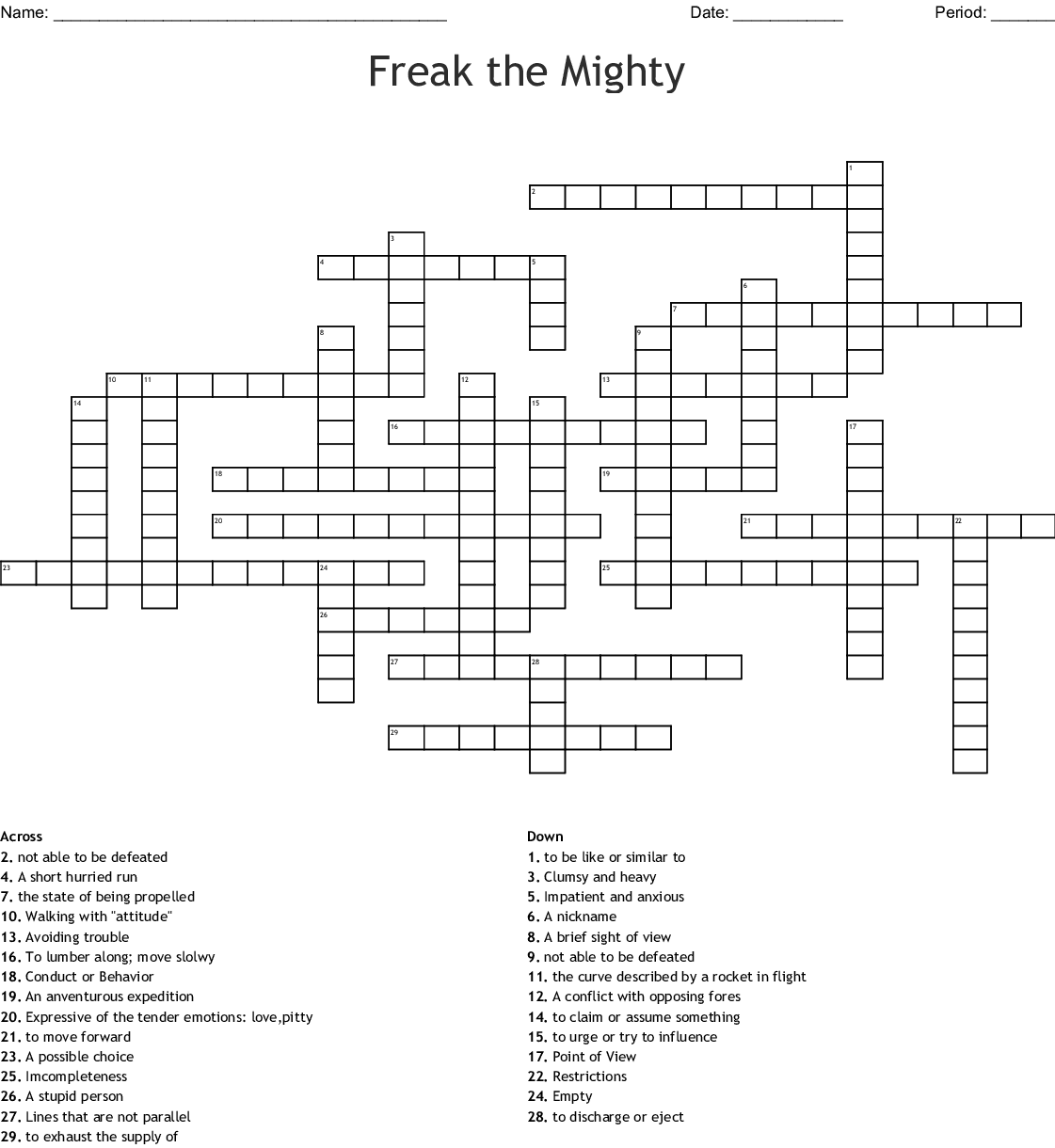 Freak The Mighty Vocab Words Chapters 1 4 Word Search Wordmint