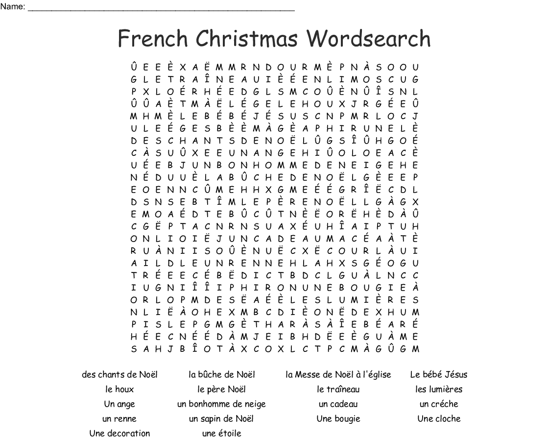 French Christmas Wordsearch - WordMint