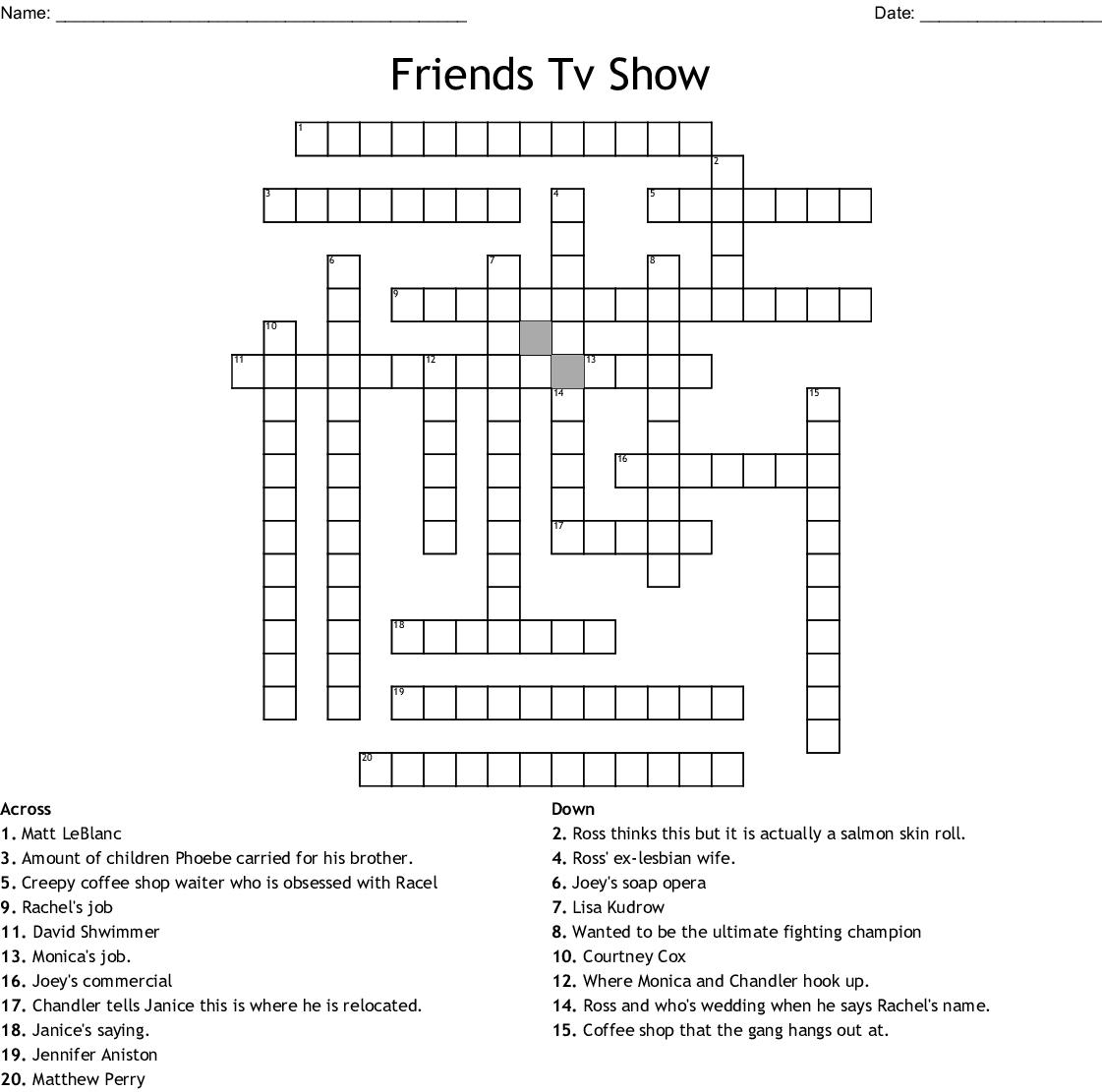 Friends Crossword Wordmint