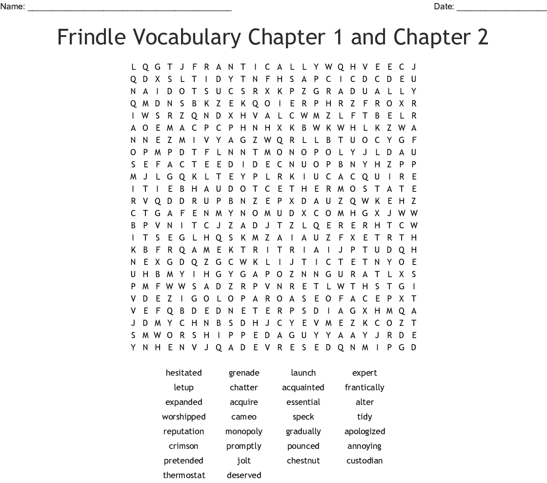 Frindle Vocabulary Chapter 1 And Chapter 2 Word Search Wordmint
