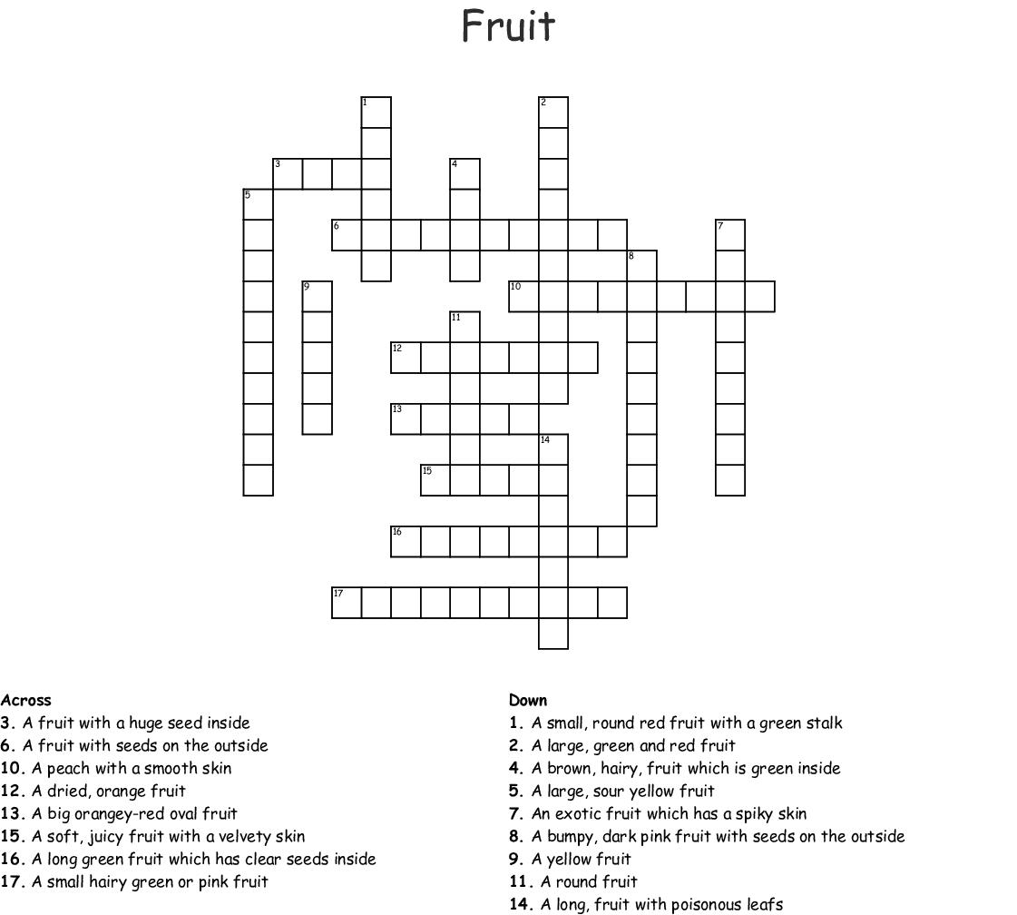 Healthy Foods Crossword Wordmint