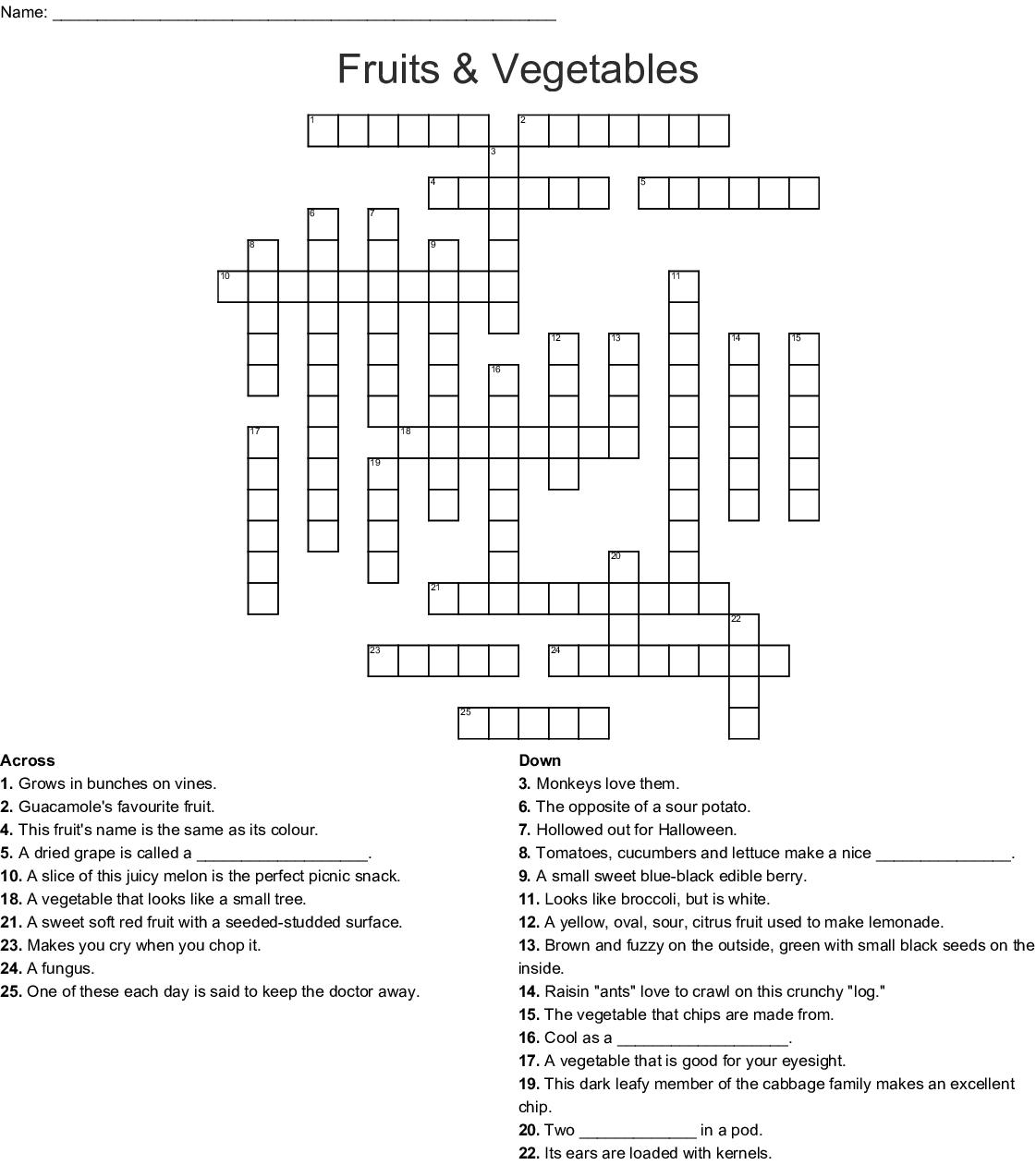 Fruit And Vegetables Crossword Wordmint