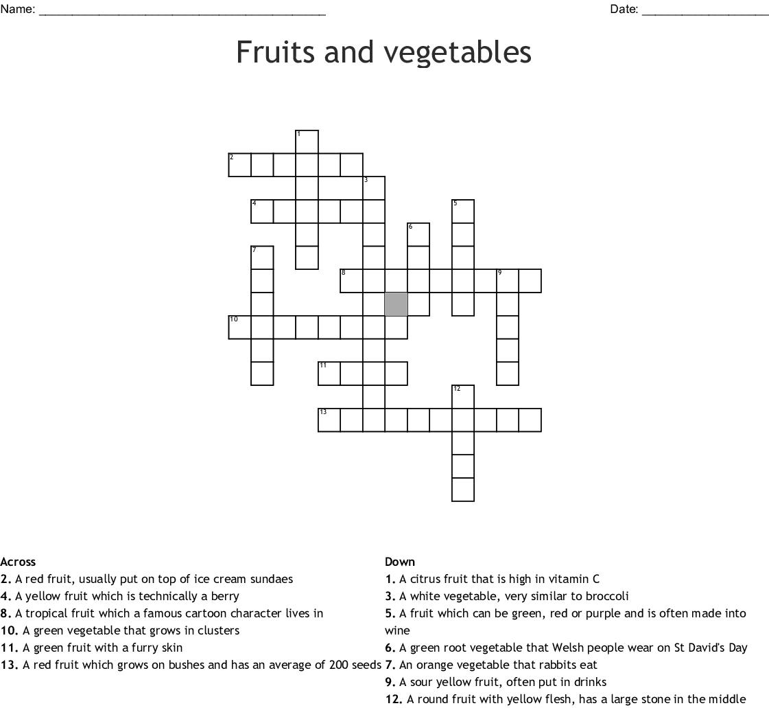 Fruits And Vegetables Crossword Wordmint