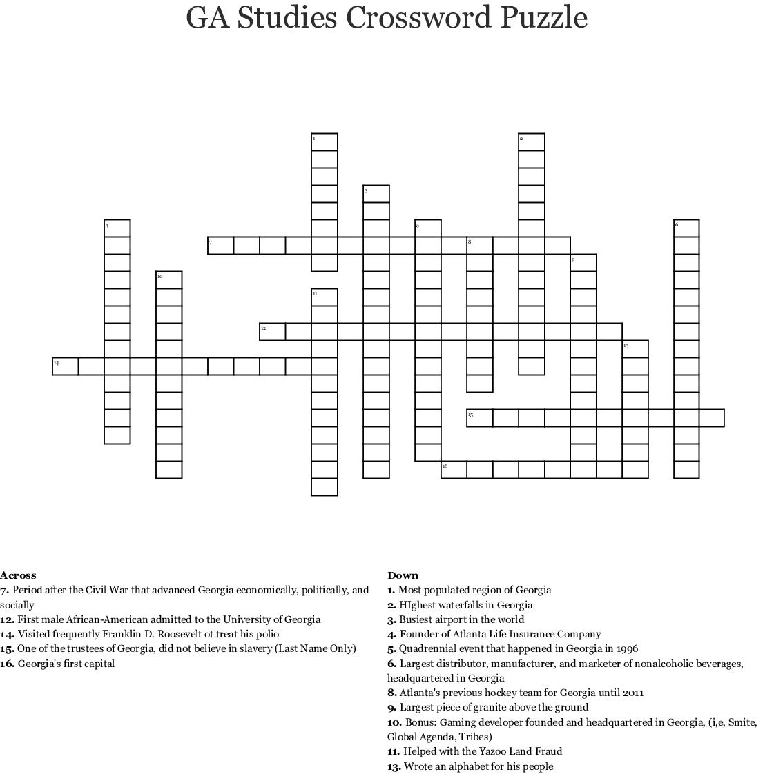 Unit 1 Georgia Studies Crossword - WordMint