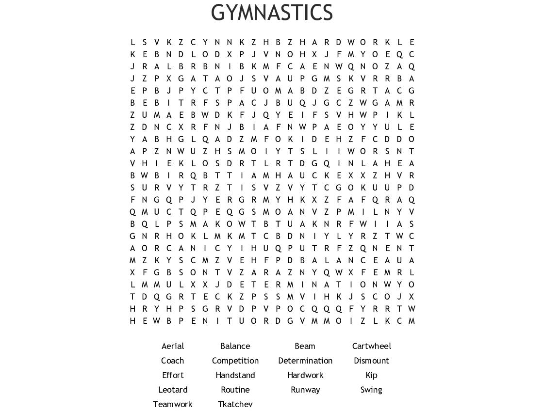Gymnastics Crossword - WordMint