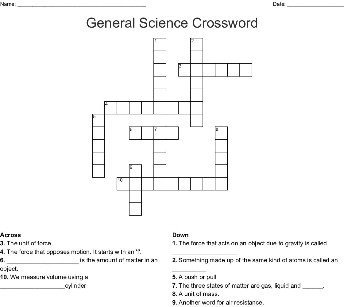 photo regarding Science Crossword Puzzles Printable known as Overall Science Crossword - WordMint