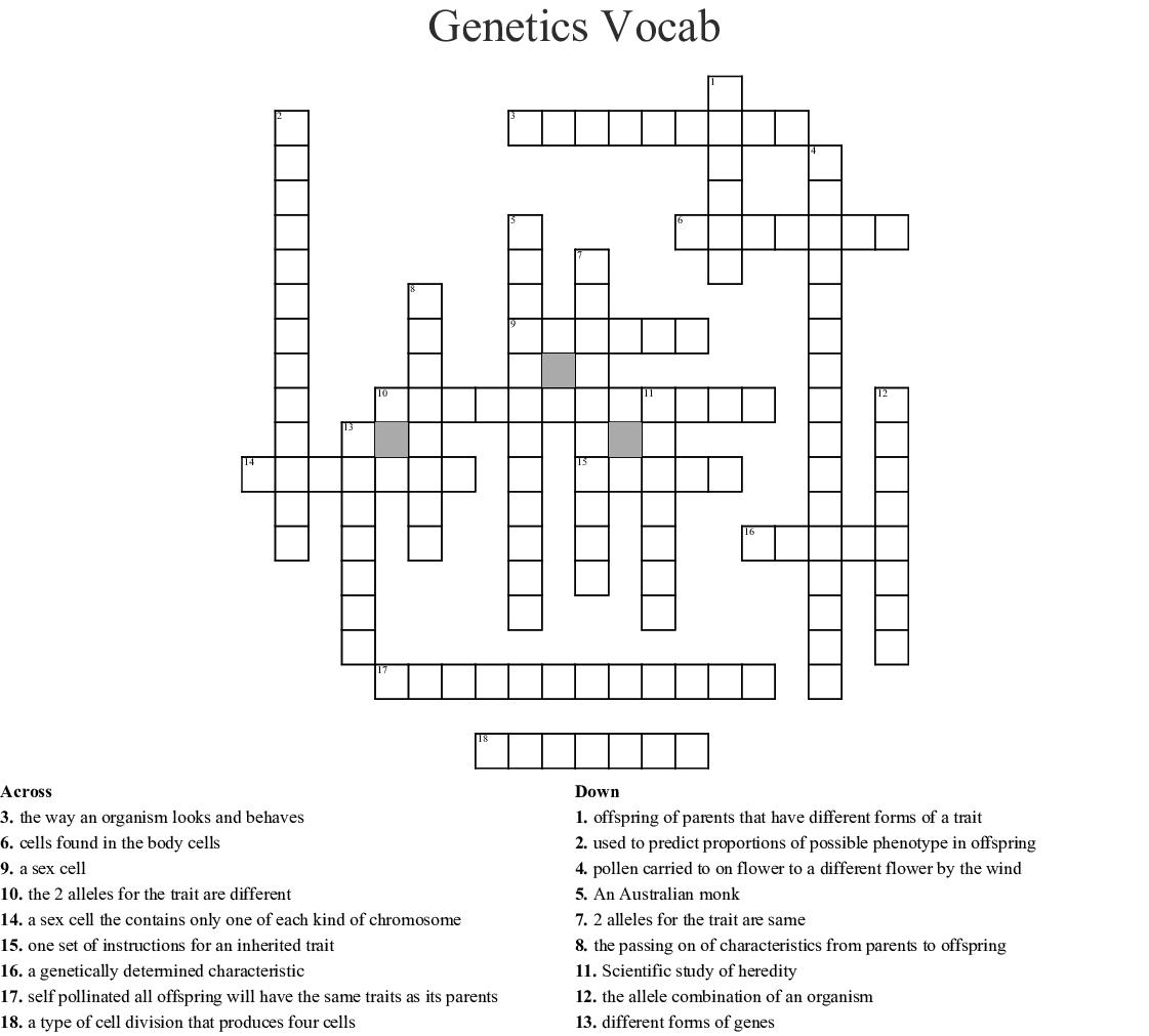 11-1 The Work of Gregor Mendel Crossword - WordMint