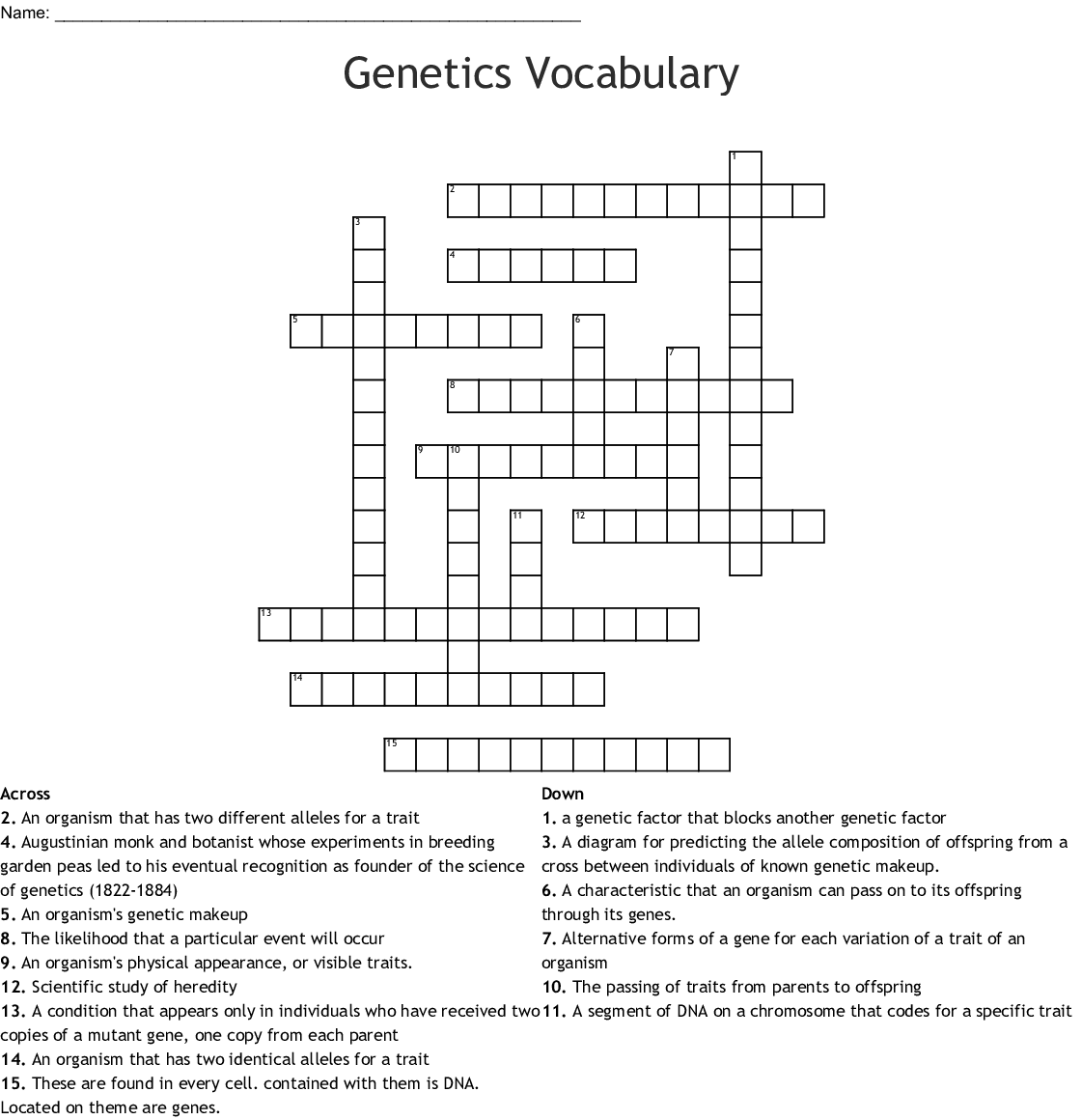 Genetics Word Search - WordMint